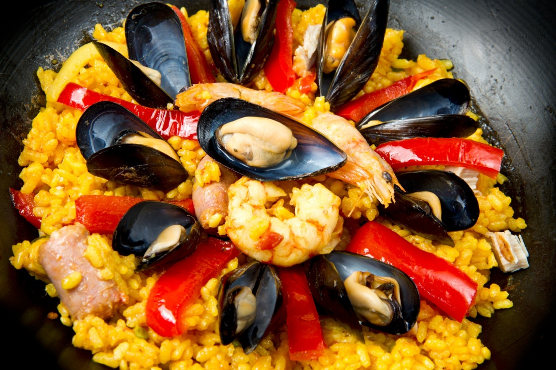 Seafood Spanish Paella, traditional recipe