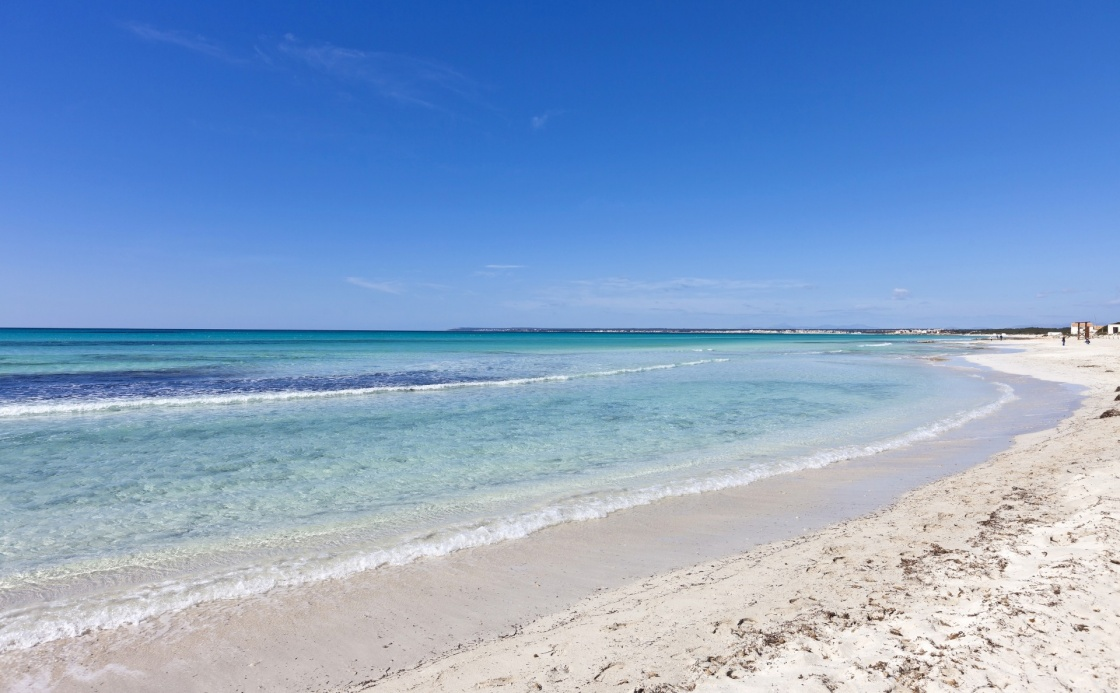 Beach of des Trenc at the island of Majorca in the Mediterranean Sea. Majorca is the largest island in the Balearic Islands archipelago in Spain.